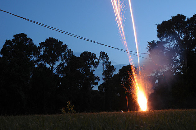 Fireworks in Backyard