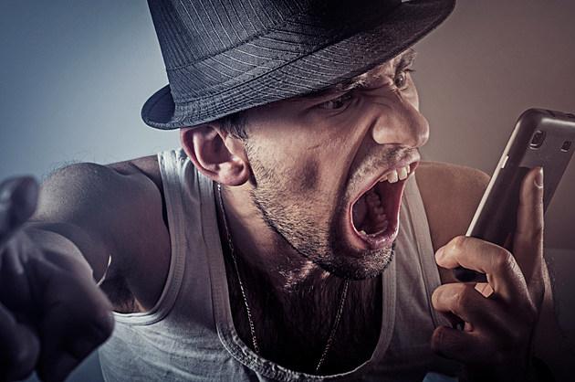 Angry man on telephone, smart phone, phone,